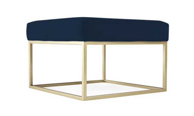 Blue Brin Mid Century Modern Cube Ottoman - Royale Cobalt - Gold - Joybird