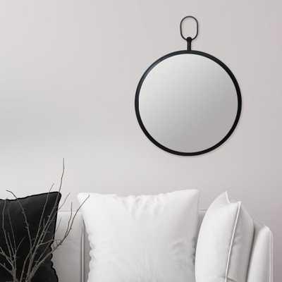 Pinnacle Handle Round Black Decorative Wall Mirror - Home Depot