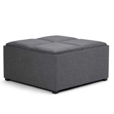 Avalon Slate Grey Storage Ottoman - Home Depot