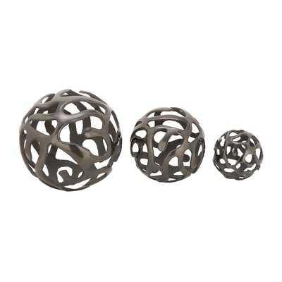 Aluminum Decor Ball 3 Piece Sculpture Set - AllModern