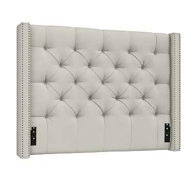 Harper Tufted Upholstered Headboard with Bronze Nailheads, King, Basketweave Slub Oatmeal - Pottery Barn