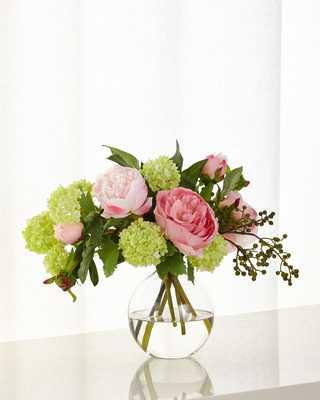 Peony Snowball Faux Floral Arrangement - Horchow