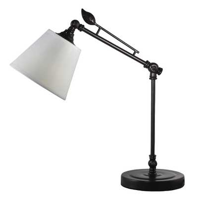Springdale Lighting 19 in. Urban Dark Bronze Desk Lamp with Fabric Shade - Home Depot