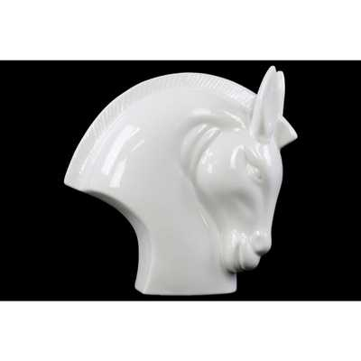 8.25 in. H Horse Decorative Sculpture in White Gloss Finish - Home Depot