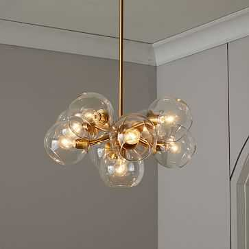 Staggered Glass Chandelier, Round -9 Light, Antique Brass/Clear - West Elm