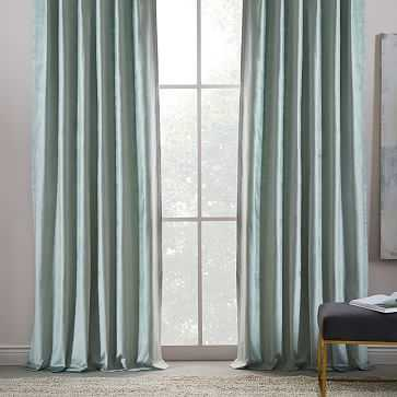 "Luster Velvet Curtain, Pale Jade, 48""X96"" - West Elm"