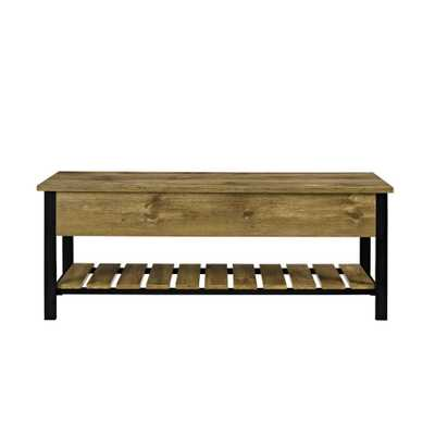 48 in. Barnwood Open-Top Storage Bench with Shoe Shelf - Home Depot