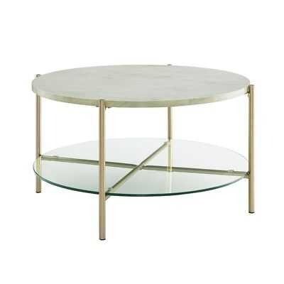32 inch Round Coffee Table with White Faux Marble and Gold Legs - eBay