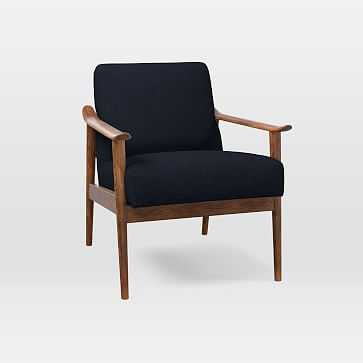 Mid-Century Show Wood Chair, Twill, Black Indigo, Pecan - West Elm