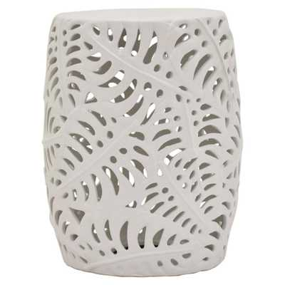 Three Hands 18 in. White Ceramic Stool - Home Depot