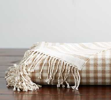 "Gingham Stripe Reversible Throw, 50 x 60"", Neutral - Pottery Barn"