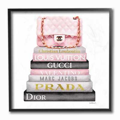 "12 in. x 12 in. "" Watercolor High Fashion Bookstack Padded Pink Bag"" by Artist Amanda Greenwood Framed Wall Art, Multi-Colored - Home Depot"