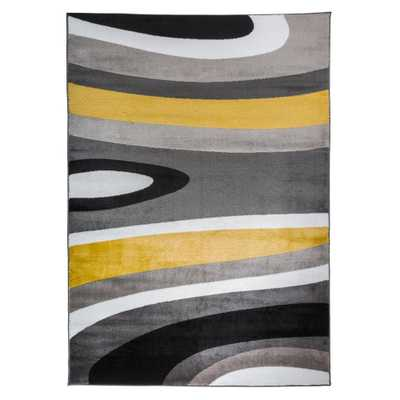 """Ikbal Abstract Contemporary Modern Gray Yellow Area Rug 5' 3""""x7' 3"""" - Home Depot"""