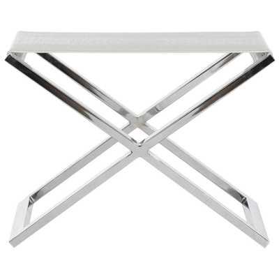 Verdi White Crocodile and Chrome End Table, White Crocodile/Grey - Home Depot