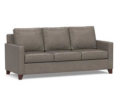Cameron Square Arm Leather Sofa, Polyester Wrapped Cushions, Vintage Graphite - Pottery Barn