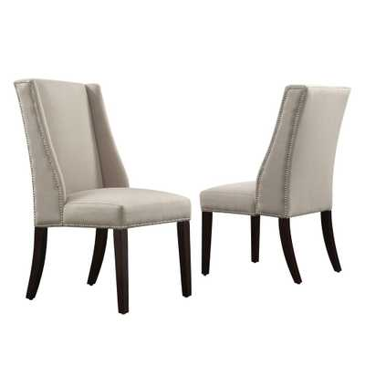 Mansfield Ash Fabric Wing Back Dining Chair (Set of 2), Grey/Grey - Home Depot
