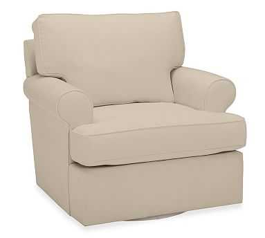 Buchanan Roll Arm Upholstered Swivel Armchair, Polyester Wrapped Cushions, Twill Parchment - Pottery Barn