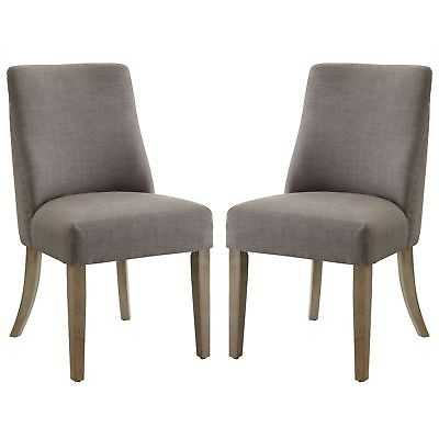 French Inspired Design Grey Upholstered Dining Chairs (Set of 2) - eBay