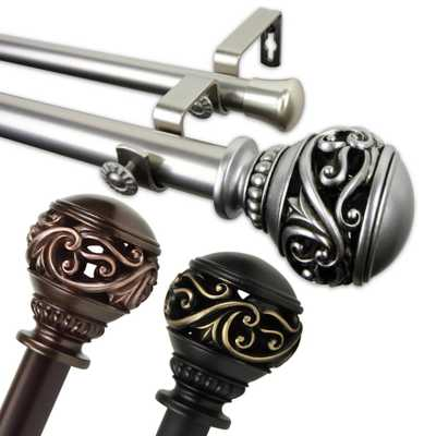 Rod Desyne Claudia 1 in. Double Curtain Rod 48 in. - 84 in. in Bronze - Home Depot
