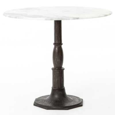 Alondra Classic Cast Iron Marble Round Dining Table - Kathy Kuo Home