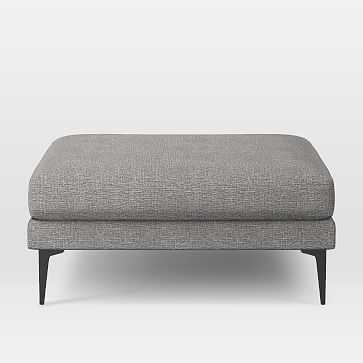 Andes Ottoman, Poly, Deco Weave, Feather Gray, Dark Pewter - West Elm