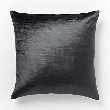 """Cotton Luster Velvet Pillow Cover, 20""""x20"""", Slate - West Elm"""