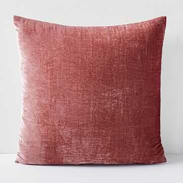 "Lush Velvet Pillow Cover, Pink Grapefruit, 20"" - West Elm"