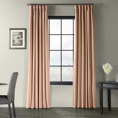 Exclusive Fabrics & Furnishings Signature Rosey Dawn Pink Blackout Velvet Curtain - 50 in. W x 84 in. L - Home Depot