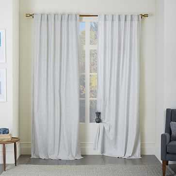 "Chambray Textured Print Curtain, Set of 2, Platinum, 48""x96"" - West Elm"