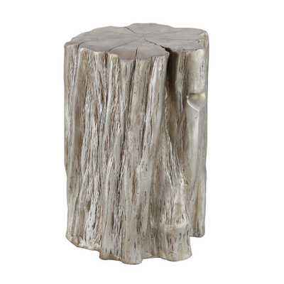 13 in. x 19 in. Natural Tree Trunk Fiberglass Foot Stool, Pale Gold - Home Depot