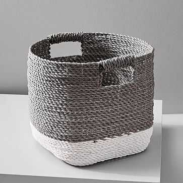 Two-Tone Woven Basket, Gray/White, Storage Basket - West Elm