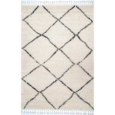 Jessie Moroccan Lattice Tassel Off White 6 ft. 7 in. x 9 ft. Area Rug - Home Depot