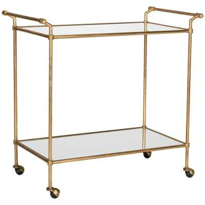 Felicity Gold Serving Cart, Gold/Mirror Top - Home Depot