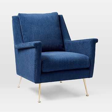 Carlo Mid-Century Chair, Basket Slub, Sapphire, Brass, Poly-Individual - West Elm