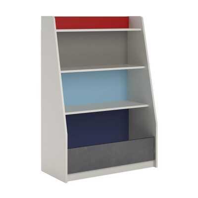Valentine Grey/Blue/Red/White Storage Kids Bookcase, Gray - Home Depot