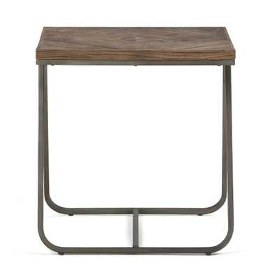 Hailey Distressed Java Brown Wood Inlay End Side Table - Home Depot