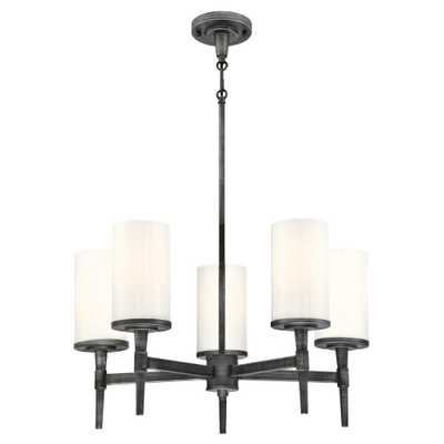 Westinghouse Courtfield 5-Light Distressed Aluminum Chandelier with White Opal Glass Shades - Home Depot