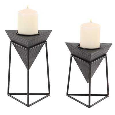 Modern Triangular 2 Piece Candlestick Set with Stand - AllModern