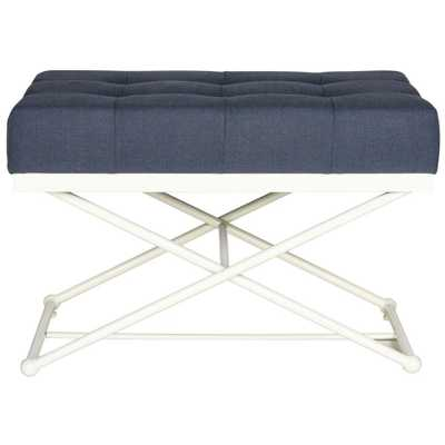 Cara Navy Bench, Blue/Ivory - Home Depot