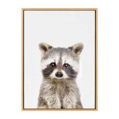 """Kate and Laurel Sylvie """"Animal Studio Raccoon"""" by Amy Peterson Framed Canvas Wall Art, Natural - Home Depot"""