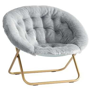 Iced Faux-Fur Quarry with Gold Base Hang-A-Round Chair - Pottery Barn Teen