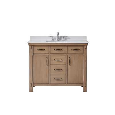 Home Decorators Collection Bellington 42 in. W x 22 in. D Vanity in Almond Toffee with Marble Vanity Top in White with White Basin - Home Depot