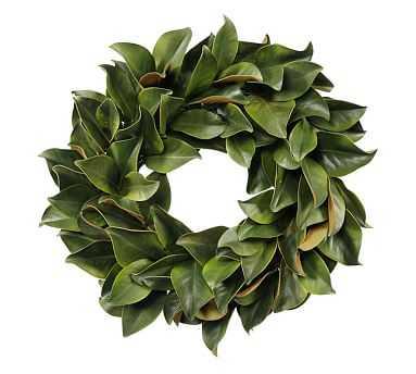"Faux Magnolia Leaf Wreath, Green - 24"" - Pottery Barn"