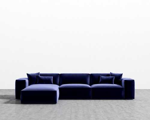 Porter Sectional - Royal Blue Black Plastic Left-hand-facing - Rove Concepts