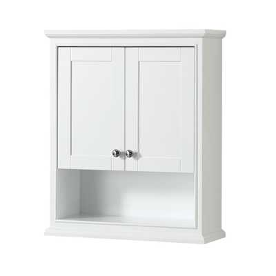 Wyndham Collection Deborah 25 in. W x 30 in. H x 9 in. D Bathroom Storage Wall Cabinet in White - Home Depot