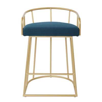 Luna 26 in. Azure Counter Stool with Gold Base, Blue/Gold - Home Depot