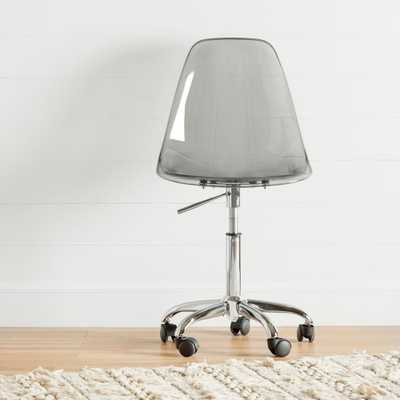 Annexe Clear Smoked Gray Acrylic Office Chair with Wheels - Home Depot