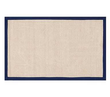 Chenille Jute Thick Solid Border Rug, Navy, 5x8' - Pottery Barn Kids
