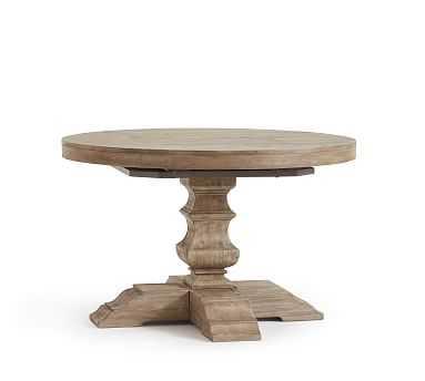 "Banks Extending Pedestal Table, 48"" - 72"" L, Grey Wash - Pottery Barn"
