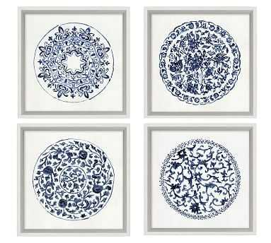 Porcelain Blue Print, Set of 4 - Pottery Barn